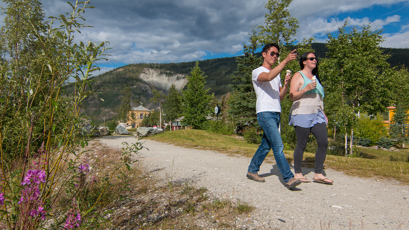 Walking on the Waterfront Trail in Dawson City