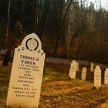 grave markers in a historic dawson city cemetery