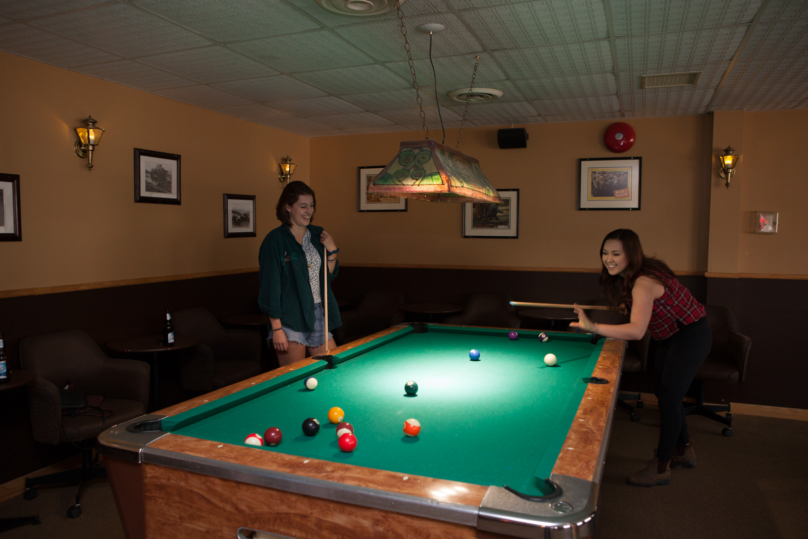 Playing pool in the Sluice Box Lounge