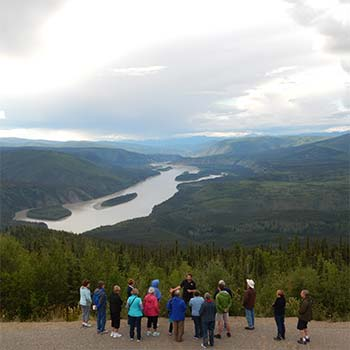 a tour group on the midnight dome with the klondike experience