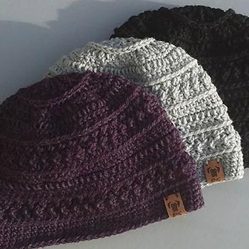 black mask greetings crocheted hats