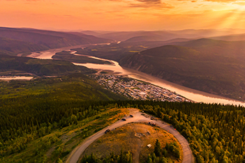 View of Dawson City from the Midnight Dome at sunset