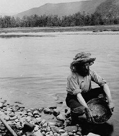 A historic black and white photo of a prospector panning for gold