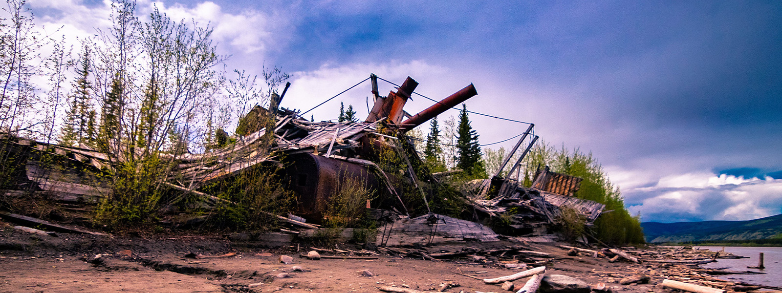 Paddlewheel graveyard near Dawson City